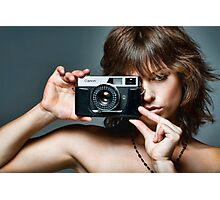 Old Camera, Young Model Photographic Print