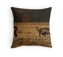 Turkeys in Golden Field Throw Pillow
