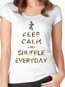 Keep Calm And Shuffle Everyday Leopard Women's Fitted Scoop T-Shirt