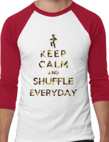Keep Calm And Shuffle Everyday Leopard Men's Baseball ¾ T-Shirt
