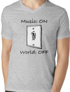 Music On World Off Mens V-Neck T-Shirt
