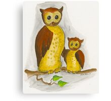 Mother and Baby Owl Canvas Print