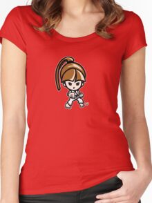 Martial Arts/Karate Girl - Front punch Women's Fitted Scoop T-Shirt