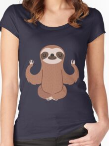 Sloth doing yoga Women's Fitted Scoop T-Shirt