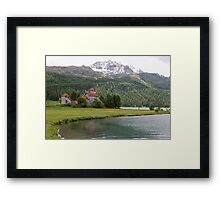 Crap da Sass Castle and Lake Silvaplana Framed Print