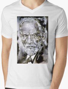 SIGMUND FREUD - watercolor portrait.7 Mens V-Neck T-Shirt