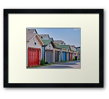 Colourful Garage Doors in the Beach Framed Print