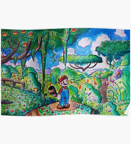 Raccoon Mario Watercolor Poster