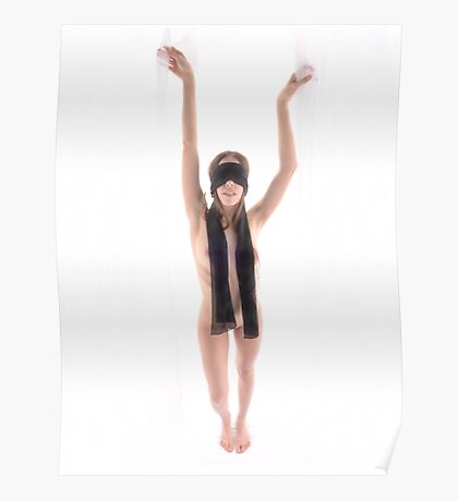 High Key Nude Woman wearing Black Blindfold 7438-JAL Poster
