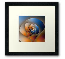 Spiral Labyrinth in Orange and Blue Framed Print