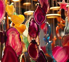 Decorative hanging mobiles at Birmingham Christmas market by Magdalena Warmuz-Dent