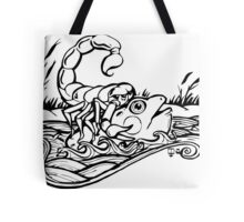 Scorpion and the Frog (black) Tote Bag