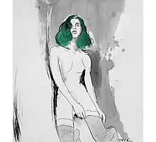 nude with green hair Photographic Print