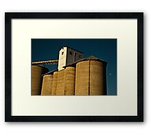 Late Afternoon Moon Rises Over the Silos Framed Print