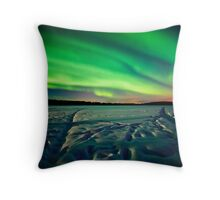 Beach Lake Aurora Throw Pillow