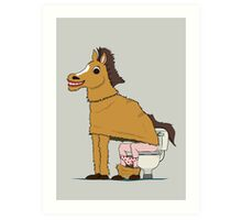 Horse on Toilet Art Print