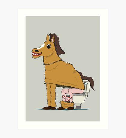 Horse on Toilet Art Print