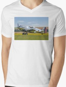 Curtiss P-40C 41-13357 N80FR out in the buttercups Mens V-Neck T-Shirt