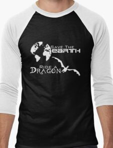 Save the Earth; Ride a Dragon Men's Baseball ¾ T-Shirt