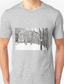 A winter scene - with Coyotes  Unisex T-Shirt