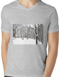 A winter scene - with Coyotes  Mens V-Neck T-Shirt