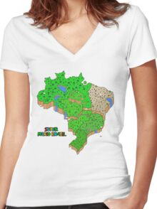 Super Mario Brazil Women's Fitted V-Neck T-Shirt