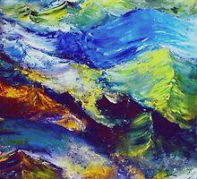 Turbulent Stream Abstract by Robert Zunikoff