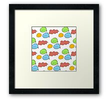 Pattern of hand drawn speech bubbles made in different colors. Fully editable illustration drawn in vector by hand. Framed Print