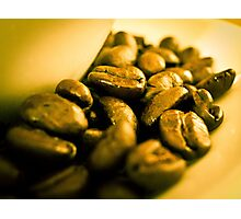 Golden coffee beans Photographic Print