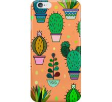 Cute handdrawn floral background with cactuses and succulents in pots. Vector botanical background.  iPhone Case/Skin