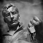 Statue of Soldier (Dog Tags) by Michael Griscavage