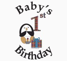 Baby's 1st Birthday Penguin One Piece - Short Sleeve