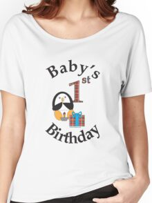Baby's 1st Birthday Penguin Women's Relaxed Fit T-Shirt
