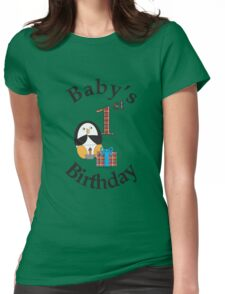 Baby's 1st Birthday Penguin Womens Fitted T-Shirt