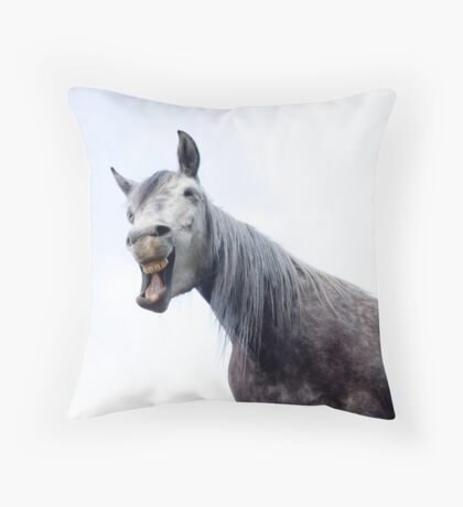Laughing horse Throw Pillow