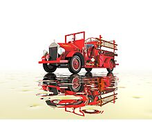 Antique Fire Engine with reflections Photographic Print