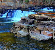 Waterfalls, River Swale, Richmond. by Ian Alex Blease