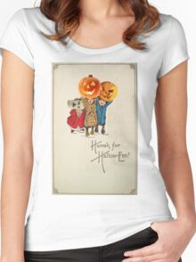 Kids With Decorations (Vintage Halloween Card) Women's Fitted Scoop T-Shirt