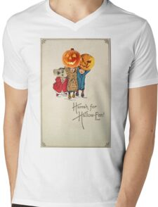 Kids With Decorations (Vintage Halloween Card) Mens V-Neck T-Shirt