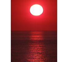 Bright Shining Sun - Red Sky - Red Ocean  -  Sol Brillante - Cielo Rojo - Oceano Rojo Photographic Print