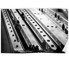 Escalator at Canary Wharf Station London Poster