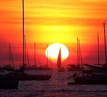 Sunset Sailing Boat by Erik Holt