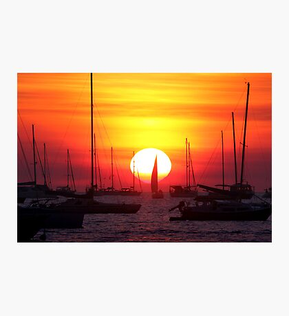 Sunset Sailing Boat Photographic Print