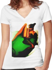 Bathing before me Women's Fitted V-Neck T-Shirt