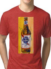 Pabst Blue Ribbon Beer Bottle Tri-blend T-Shirt