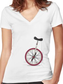 Unicycle By Wall Women's Fitted V-Neck T-Shirt