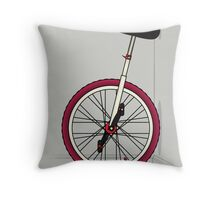 Unicycle By Wall Throw Pillow