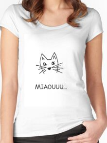 Cute hand drawn cat Women's Fitted Scoop T-Shirt