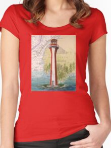 Cape Fourchu Lighthouse NS Canada Map Cathy Peek Women's Fitted Scoop T-Shirt