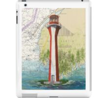 Cape Fourchu Lighthouse NS Canada Map Cathy Peek iPad Case/Skin